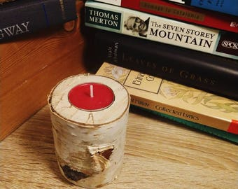 Birch log tea light candle holder