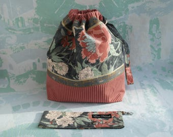 Drawstring knitting bag Yarn bag Storage bag Crochet project bag Bag for knitting Floral knitting bag Sock project bag Knitting Accessories