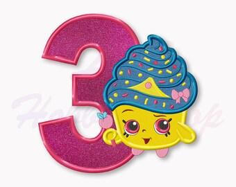 Shopkins Cupcake Queen Third birthday Applique Embroidery Design, Shopkins Machine Embroidery Designs, Digital Instant Download, #020