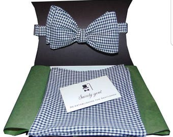 Houndstooth Self-Tie Bow Tie and Matching Pocket Square.
