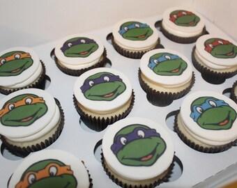 One Dozen Ninja Turtle Cupcake Toppers