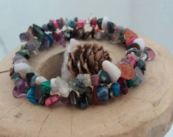 Mixed Crystal Memory Wire Bracelet