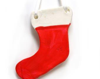 Red Stocking Salt Dough Ornament, handmade Christmas ornament, Clay Christmas Tree Ornament, Holiday Clay Gift Tag, Salt Dough Gift Tag