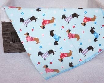 Dachshunds Receiving Blanket, Baby Shower Gift, Baby Blanket, Flannel Blanket, Blue Blanket, Receiving Blanket, Newborn Blanket, Nursery