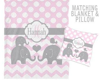 Girl ELEPHANT Blanket, Personalized Blanket, Girl Name Blanket, Girl Shower Gift, Swaddle Blanket Pillow Set, Monogram Baby Pillow