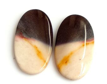Mookite Jasper Oval Pair Cabochon,Size- 24x12 MM, Natural Mookite Jasper , AAA,Quality  Loose Gemstone, Smooth Cabochons.