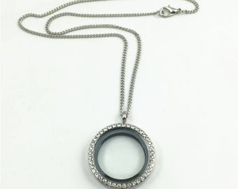Floating Locket Necklace, Silver 30mm Round Living Glass Locket With Rhinestones