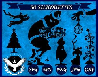 50 Grinch Silhouette | Grinch Clipart | Grinch SVG | Christmas SVG | Christmas Clipart | Christmas Gift | Holiday |  Dr Seuss | Circuit