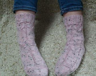 Winter Socks / Knitted Socks /Cable Knit Socks / Handknit Socks / Wool Socks /Cosy socks/Owl socks/Bed socs/Gift