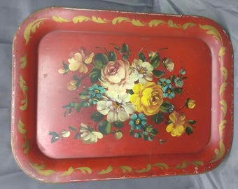 Old Vintage Antique Tole Ware Metal Painted Red Floral Flowers Serving Tray