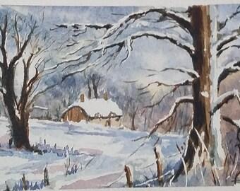 "Original watercolor landscape of mountains under snow ""Cabin"""