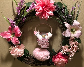 Its a Girl Baby Wreath, Shower, Birth