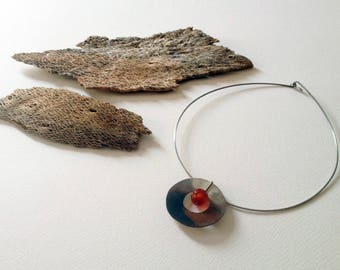 Artisan Sterling Silver and Natural Stone Necklace - Contemporary, Hand Forged Jewellery, One-of-a-kind, Unique Gift