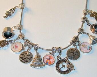 Alice In Wonderland Inspired Charm Necklace  #4  Handmade  OOAK