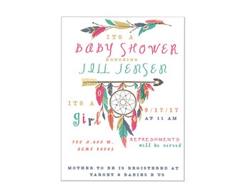 Dream catcher boho baby shower digital printable custom invitation