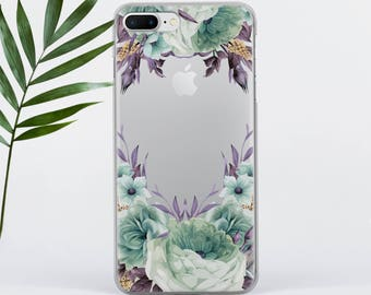 Flowers iPhone 7 Case Clear iPhone 8 Case Florals iPhone 6 Case iPhone 5 Case iPhone SE Case iPhone 5S Case Galaxy S6 Case Clear PC002