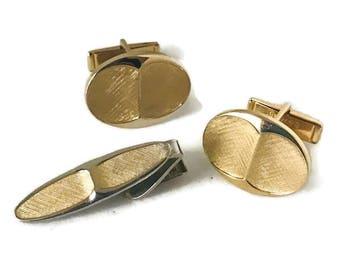 Vintage Gold Tone Classic Cufflink Tie Clip Set