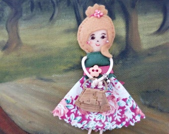 Fabric brooch doll, miniature doll, pioneer school gift, convention gift, pin doll, gift for her, mother gift, teacher gift