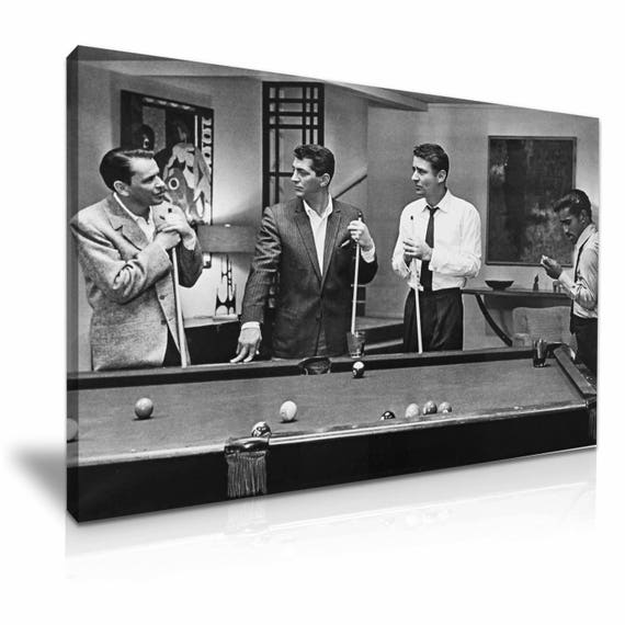 The Rat Pack Playing Pool Movie Stretched Canvas Print 76 Cm X