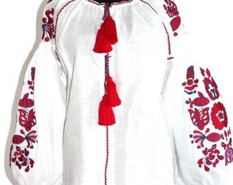 Vyshyvanka Woman Bohemian Clothing Ukrainian Embroidery Boho Blouse White Linen Ethnic Ukraine Vishivanka Woman Mexican Folk Modern Style