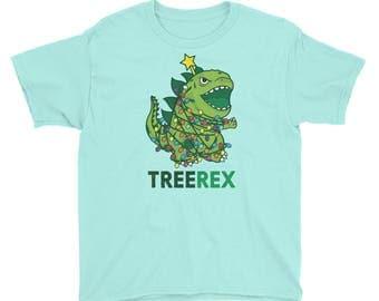 Tree Rex Christmas Youth Short Sleeve T-Shirt