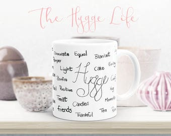 Hygge Words - Hygge Lifestyle Mug - Handwritten words - Hygge - Coffee Mug