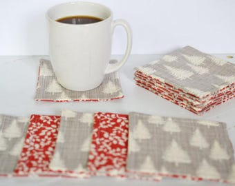 Quilted Coasters/ Cup coaster/ Mug rugs/ quilted mug rugs/ coaster/ Red Coasters/ Coaster set/ Gift Ideas/ wedding gift/Cotton anniversary