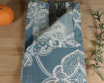 Cloth Napkins - Cotton Napkins, Sustainable Gift, Gift Under 20, Blue Paisley, Holiday Party Favor, Handmade, Vintage Linen, Upcycled Fabric