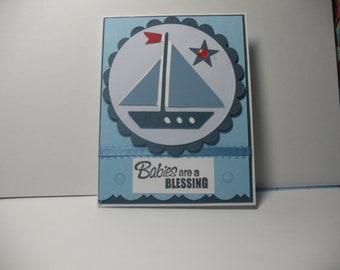 New Baby Boy Sailboat Card