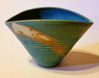 Handmade petit fan shaped vase