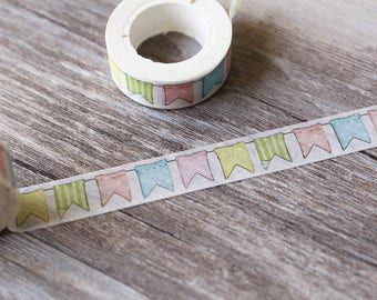 Banner Washi tape,Pastel banner masking tape,  Multi-Colored Garland  tape, planner accessories