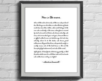 Man in the Arena Quote, Gifts, Printable Art, Famous Quotes, President Quote, Office Quotes, Digital Download, Motivational Quote