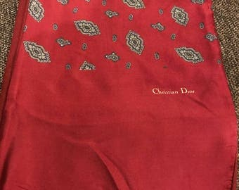 Vintage 1970's Christian Dior Lined Scarf/ Paisley/Mod/Scarves