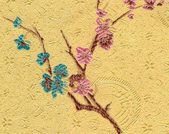 Chinese brocade satin fabric material colorful flower and longevity on warm gold background embroidered by the Yards Meters cbs 528