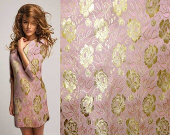 Simply lovely gold peony embroidered on pink Asian Chinese Brocade Silk Fabric Motif 29 inch W, By The Yard or Metres or Samples GP-611