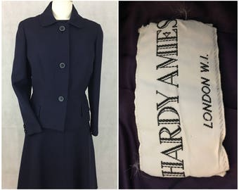 Hardy Amies navy dress and jacket pre 1990