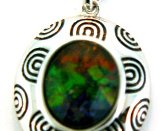 Canadian AAA Quality Ammolite pendant set in Sterling Silver.