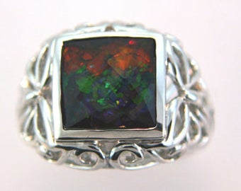 Sterling Silver Filigree  Canadian Ammolite ring.