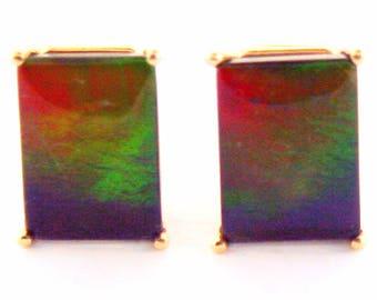 Pair of Large Emerald Cut Canadian Ammolite set in 14k Rose Gold