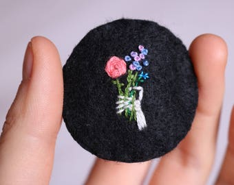Skeleton + bouquet hand embroidered brooch