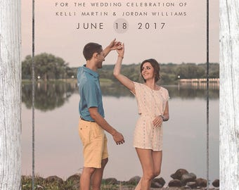 Customized Blue and Silver Border Save the Date (ONE SIDED)