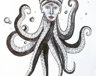 Swamp Monstress (Original Drawing)