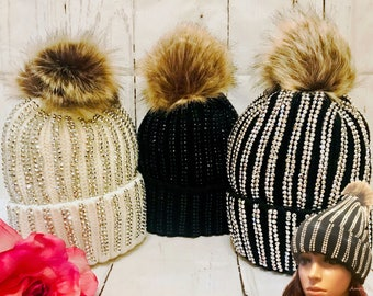 Luxury Bling Diamante Faux Fur Removable Pom Pom Winter Knit Beanie Hat