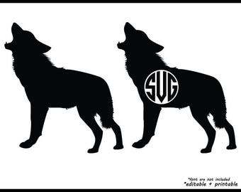 Wolve Wolf dog huskies silhouette in svg, png, eps, dxf file format, cricut monogram editable printable instant download