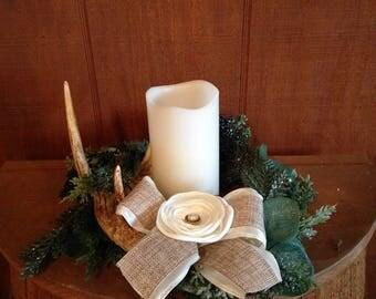 Antler and Christmas wreath