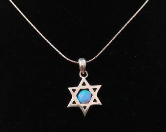 Sterling Silver Magen David (Star of David) pendant inlaid with Opal. Two sided pendant. Sterling silver necklace