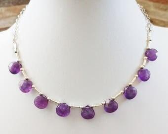 Amethyst Teardrops necklace. Sterling Silver tubes and beads, Sterling silver necklace. Light and elegant