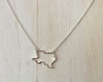 Texas Outline Necklace - Silver Plated