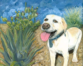 Dog in the Cactus greeting card