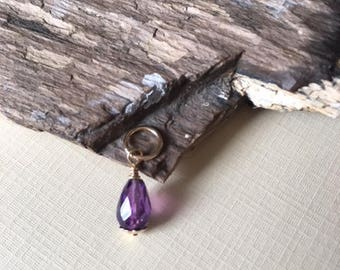 Purple Amethyst, 20mm dangle,gold fill,February birthstone,amethyst dangle,gift for her, gold fill,minimalist jewelry,faceted amethyst
